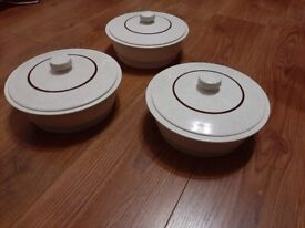 Poole Pottery Parkstone lidded vegetable dishes (three)