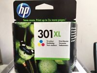 Genuine HP 301 Printer Ink Cartridges - one Black, one colour