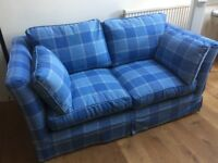 Two Seater Blue Laura Ashley Norfolk Sofa - with Sofa Bed