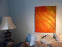 Original Modern Art Oil Painting by Local Artist John Hughes - painted in Orange & Yellow