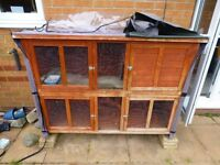 Outdoor hutches and run for guinea pigs or similar