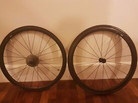 Zipp 202 Tubular Wheelset 2015 - 10/11 Speed Shimano - Black decals - Very good condition