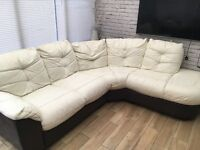 Left hand cream and brown leather sofa