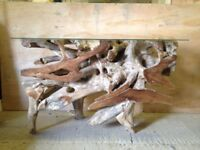 NEW, RECLAIMED TEAK ROOT COFFEE/DINING TABLE, TOUGHENED GLASS 1350x465 H820