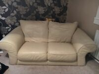 CREAM LEATHER COUCH SET
