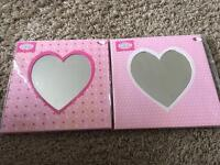 2 wall mirrors - pink with wall hook. Brand new. Acrylic
