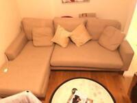 Lovely L-Shaped Left Hand Corner Beige Sofa