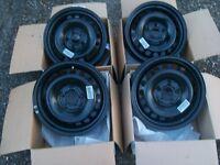 """VW 4 x 15"""" steel wheel rims for Golf Mk 5. 5 bolt - BARELY USED!! - 1K0 601 027 T"""