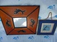 Dolphin Mirror and Plaque Wall hanging