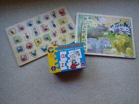 Jigsaw puzzle alphabet and animals