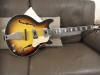 For Sale Chowny CHB1 hollow bodied bass short scale sunburst finish.