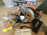 """Compound mitre saw 110volt """"evolution"""" 210mm saw for wood/steel and aluminium brand new never used."""