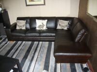 LEATHER CORNER SOFA DARK BROWN (2 YEARS OLD) FOREST FURNISHING