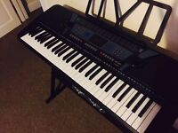 New Like - Pitchmaster 61 Key Black Electronic Music Piano Keyboard with Stand (with original box)