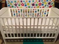 White Baby Cot & Mattress