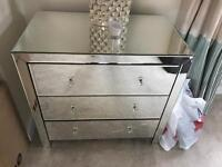 3 draw mirrored style unit for bedroom
