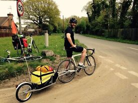 Bicycle Trailer One-wheel with Luggage Bag Folding