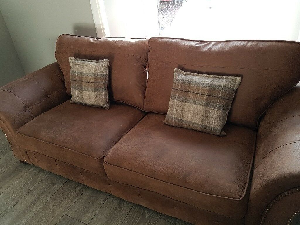 Brown Nubuck Leather Sofa And Arm Chair