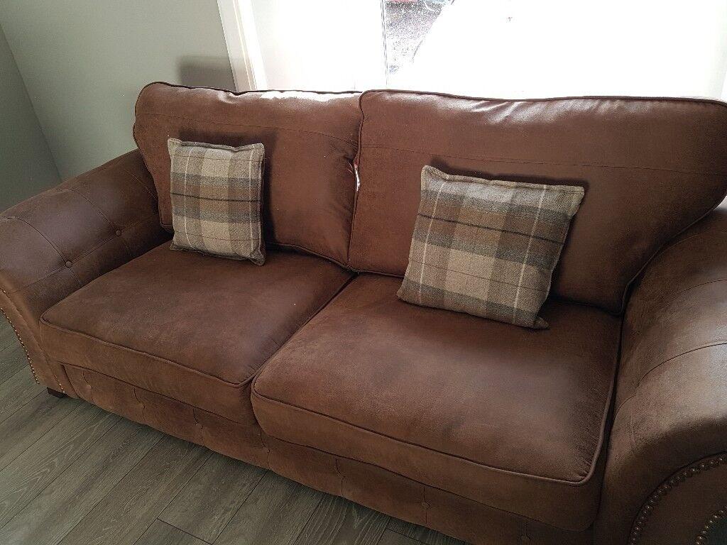 Brown Nubuck Leather Sofa And Arm Chair In Carluke