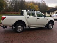 2010 10 Mitsubishi l200 pickup truck double cab crewcab kingcab no vat may px, white only 92000 mile