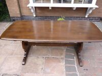 ERCOL Dining Room Table in Dark Oak- Large, Sits 6