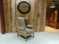 Large Wingback Fabric Chair (Oatmeal)