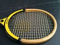 Naz Khan Special Yellow Dot Squash Racquet Racket Bat Wooden Vintage Retro