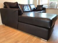 Dark Brown Italian Leather Corner Sofa with Double Bed ( delivery available )