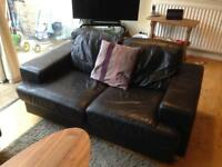 SOLD 2 x brown leather 2 seater sofas