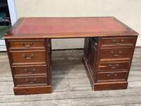 Reproduction Antique Pedestal Accountant's Desk with mahogany finish