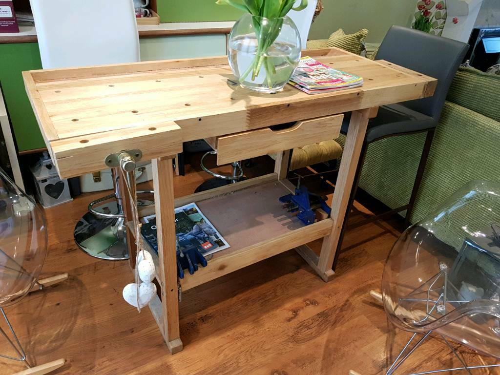 Vintage Retro Style Pine Joiners Work Bench Vice Dining Table ...
