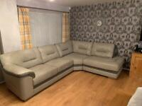 Leather grey corner sofa with two seater and snug large single chair and foot stall
