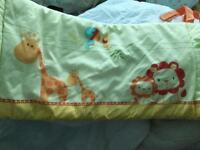 Pair twin set mothercare cot/bed bedding jungle/animal lemon/yellow