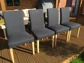 Ikea 4 chairs with grey covers + 4 purple chair covers