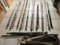 Large Collection Vintage Split Cane Fishing Rods and Items