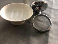 Ceramic soap dish with chrome holder