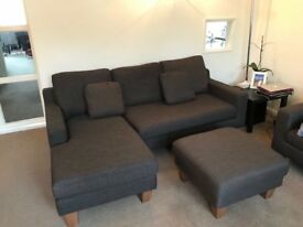 Dwell 3 seater corner sofa, 2 seater sofa and matching footstool