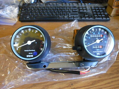 NOS Harley Davidson Gauges Speedometer Speedo Blue Dot Tach Tachometer Sportster