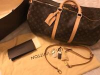 Louis Vuitton keepall 55 cm travel bag in brown monogram canvas and natural leather