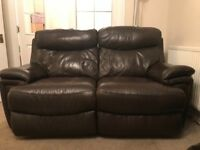 Brown leather recliner sofas - 2 and 3 seater