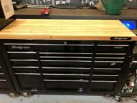 Snap on kra5318fpc roll cab tool box and wooden top 54 inch