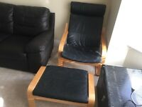 2 black leather chairs and one stool ikea