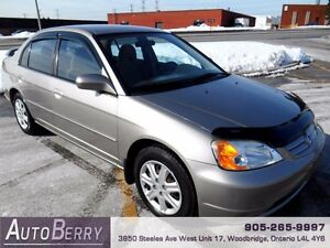 2003 Honda Civic LX *** Certified and E-Tested *** LOW KM $3,999