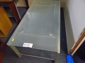 metal frame and frosted glass coffee table