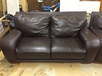 DFS TWO LARGE BROWN LEATHER SOFAS - MUST GO ASAP - FREE DELIVERY SOME AREAS - £260