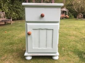 Hand painted solid pine bedside cabinet in Authentico Herbs