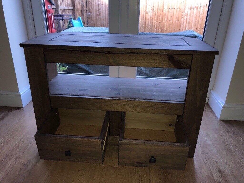 Dark wood corner TV cabinet for sale