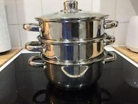 Three tier steamer for gas or electric hob