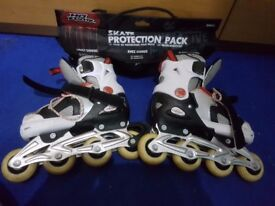 Inline roller blades and skate protection set
