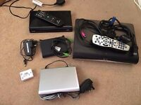 Sky HD box, internet adaptor and router